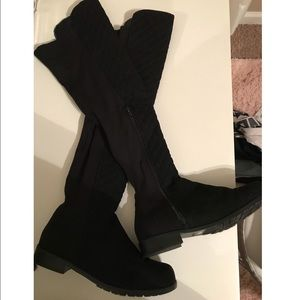 Knee high black suede boots size 10